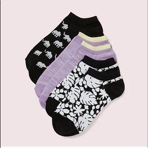 Kate Spade 3 pair Socks- Floral, Elephant & Purple